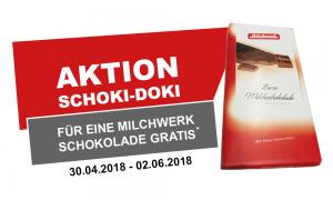 Schoki-Doki Aktion für eine gratis Milchwerk Schokolade